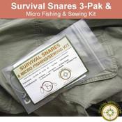 Survival Snares 3pk & Micro Fishing/Sewing Kit