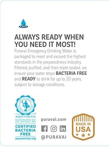 Puravai Emergency 20 Year Life Water 18L Pack